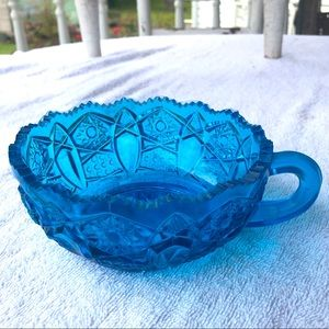 Vintage Blue Turquoise Elegant Faceted Candy Dish